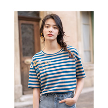 INMAN 2020 Summer New Arrival Pure Cotton Vitality Stripe Dropped Shoulder Sleeve Printed Loose Slimmed All match T shirt