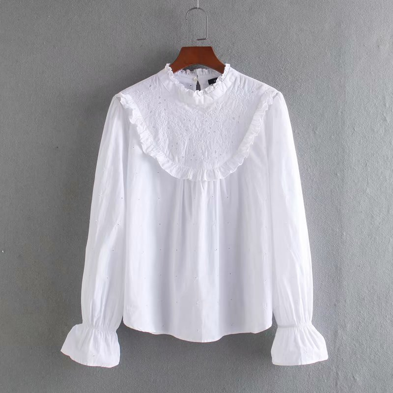 Women Hollow Out Embroidery Agaric Lace Blouse Casual White Smock Shirts Leisure Flare Sleeve Ruffles Chemise Blusas Tops LS6393