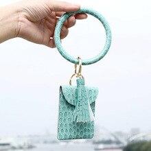 Round crocodile print PU Leather Bangle Hang Change Purse Phone Bag Clutch Wristlet Keychain Bracelets for Women Girls  Jewelry fashion women s clutch bag with pu leather and crocodile print design