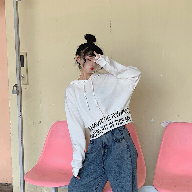 sweet hooded letter loose full Korean style Spring and autumn ladies tops Women's Clothing fashion brand high quality Hoodies 4