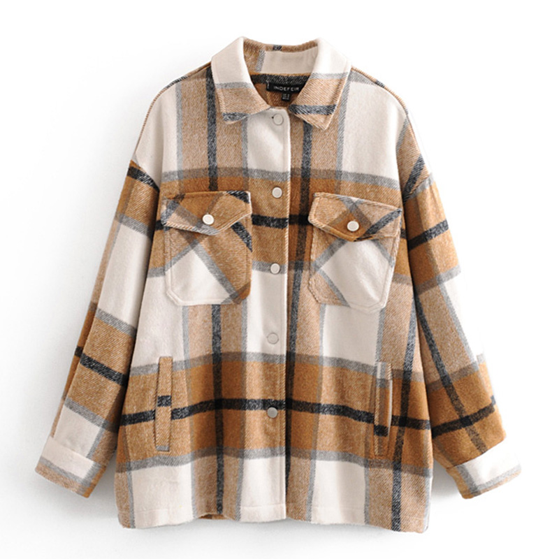 Plaid Printed Wool Coats Women Fashion Turn Down Collar Soft Jackets Women Elegant Pockets Coats Female Ladies JQ