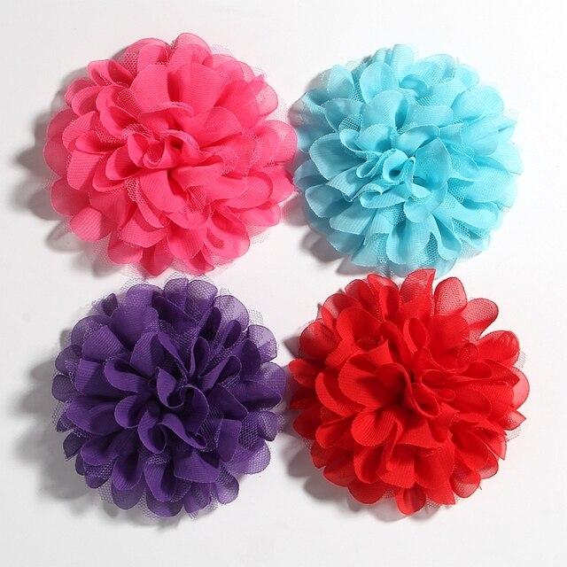 "30pcs//lot 4/"" Soft Big Chiffon Flowers Flatback For Diy Headband Clips Headwear"
