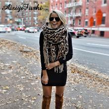 Brown Poncho Leopard Femme Women Winter Blanket Scarf Warm Soft Cashmere Thicken Long Ladies Tassel Scarves Poncho Foulard 2020 cheap Adult geometric Fashion 60cm-80cm ASS1818