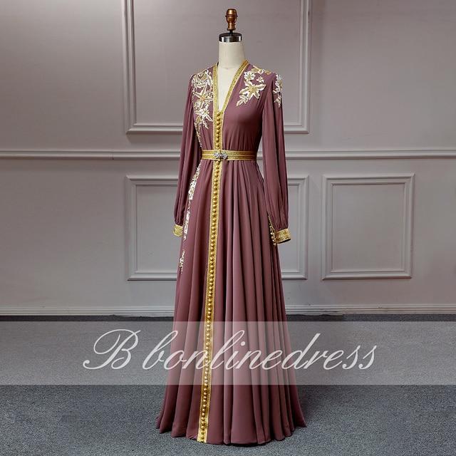 Bbonlinedress Moroccan Caftan Evening Dresses Embroidery Appliques Long Evening Dress Full Sleeve Arabic Muslim Party-Dress 2