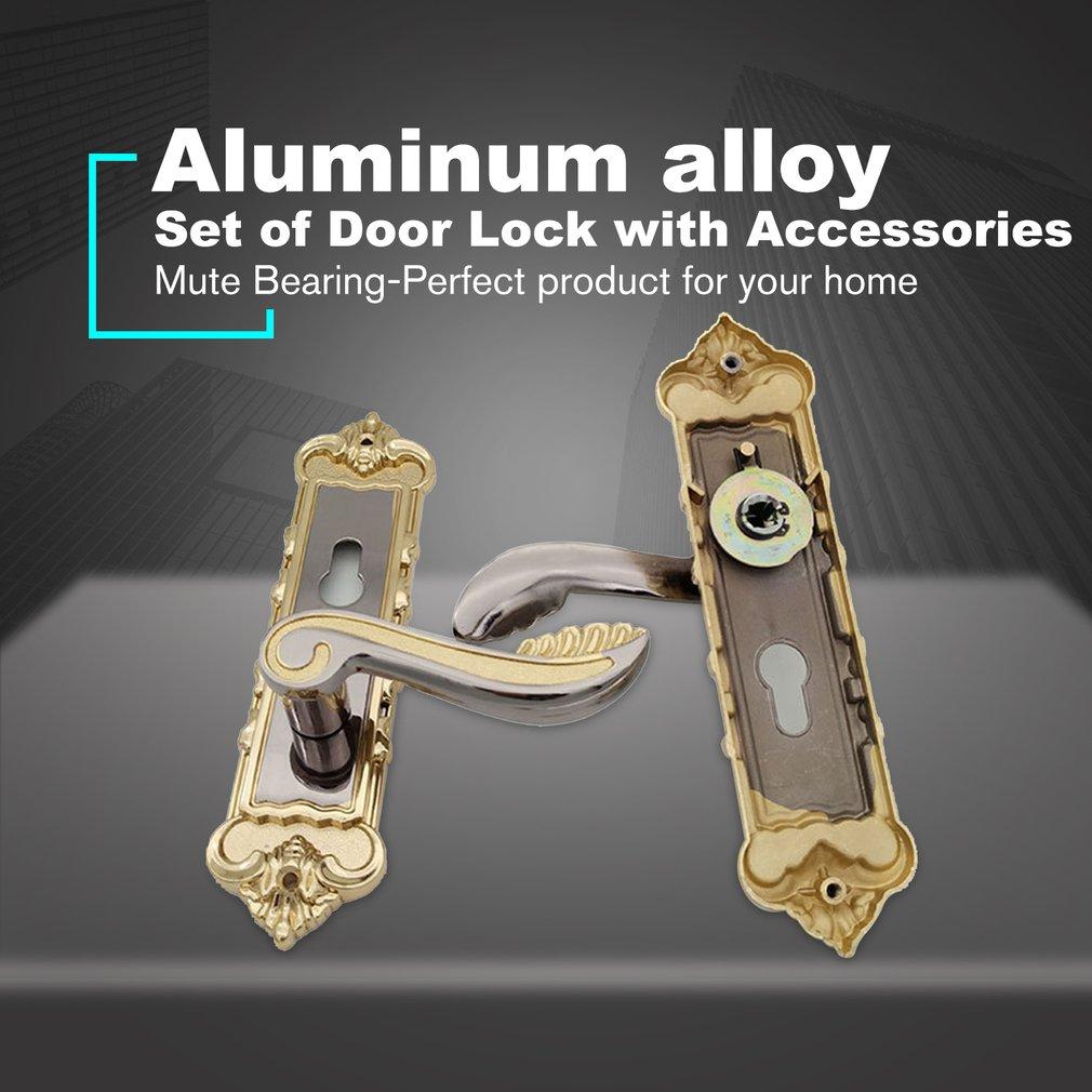 Minimalist Aluminum Alloy Door Locks Continental Bedroom Interior Door Handle Lock Cylinder Security Mute Door Lock Household