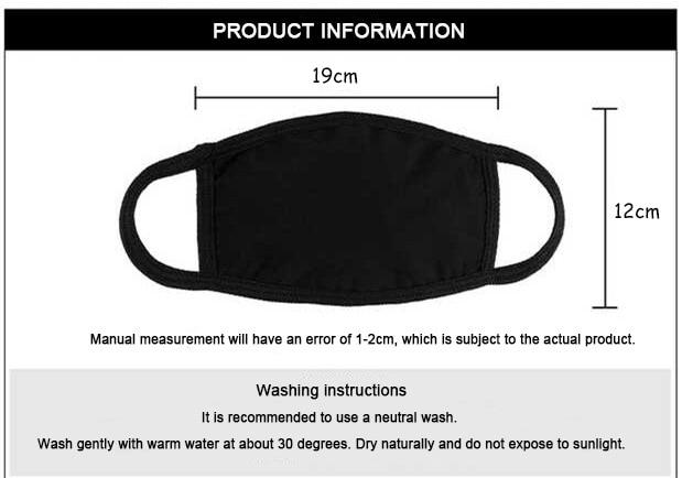 Unisex black Dustproof Masks Kawaii Cartoon Print Kpop Mouth Masks High Quality Black Casual Mask Mouth Muffle Face Mask Kpop 5