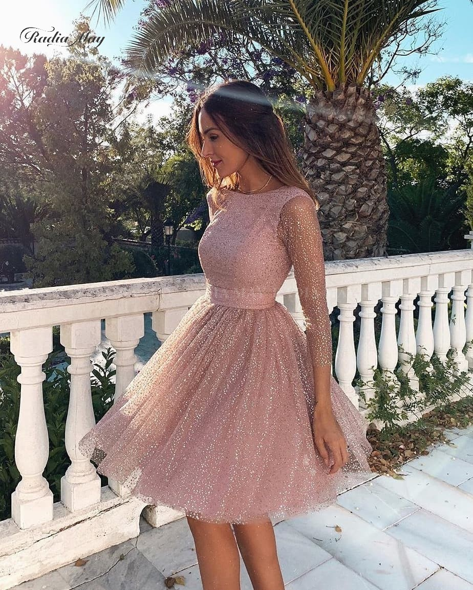 Sparkly Sequin Dusty Pink Long Sleeve Cocktail Dresses Tulle Knee Length Party Gowns Sexy Backless Short Homecoming Dress