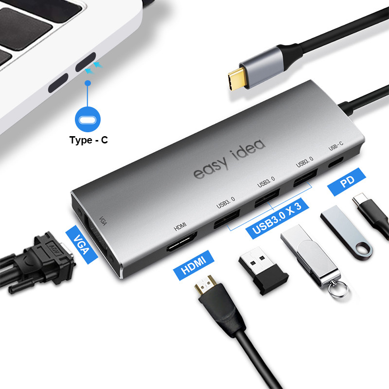 OTG USB Hub 3.0 USB C Hub HDMI 3 Port Splitter Multi USB 3.0 Type C Hub USB-C Hab VGA Adapter C Dock For MacBook Pro Accessories