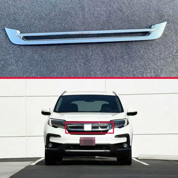For Honda Pilot 2019 2020 Car Accessories ABS Chrome Front Center Mesh Grille Grill Cover Radiator Strip Trim Decoration