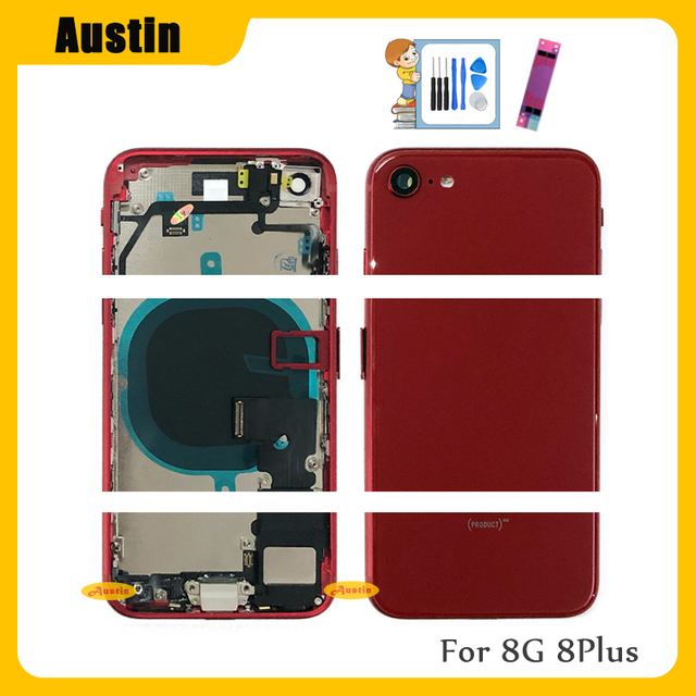 Full Housing for Iphone 8 8G 8Plus Battery Back Cover Door Rear Case Middle Frame Chassis + Back Glass with Flex Cable Parts 8G 3