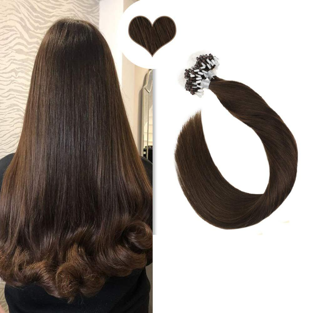 Micro Ring Hair Extensions 1g/strand Machine Remy Human Hair 14-24inch Solid Color Micro Bead Hair Extensions 50g/50strands Set