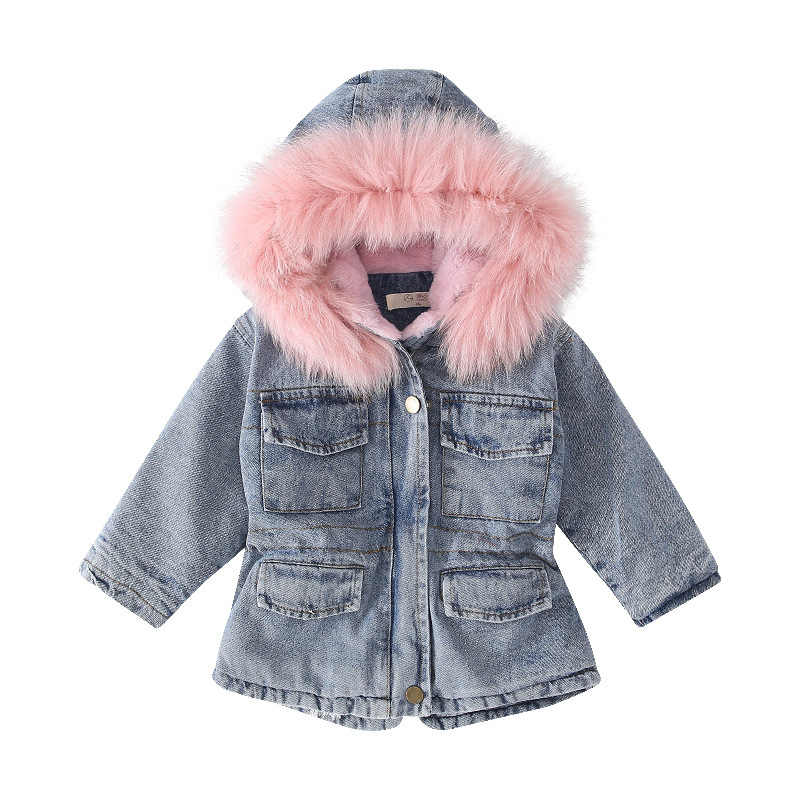 Girls Winter Plus Velvet Denim Jackets Children Fur Collar Hooded Casua Denim Coats Kids Girls Cotton Parkas Outwear