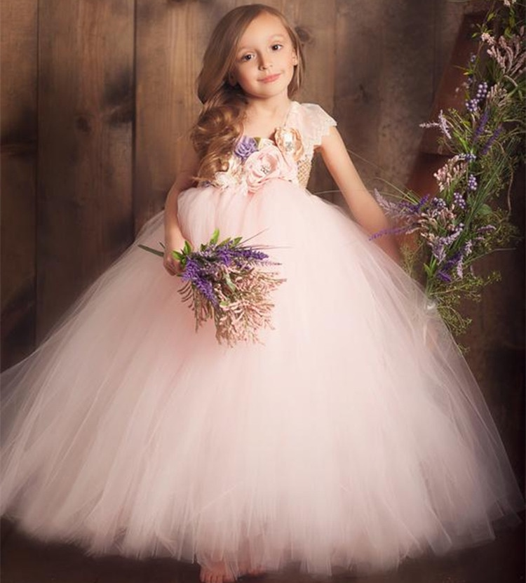 Baby Girls Pink Vintage Flower Tutu Dress Kids Tulle Dress Ball Gown With Lace Shoulder Children Christmas Party Costume Dresses