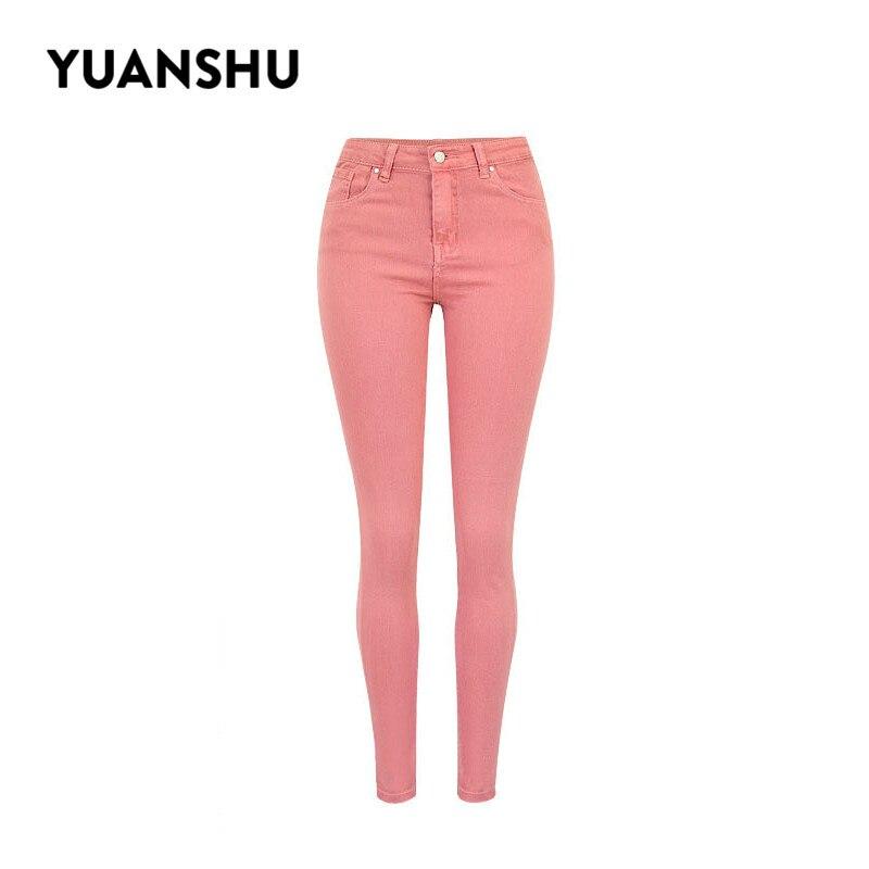 YUANSHU Fashion Pink High Waist  Jeans Women Stretch Skinny Pencil Jeans Women Sexy Casual Streetwear Plus Size XS-3XL