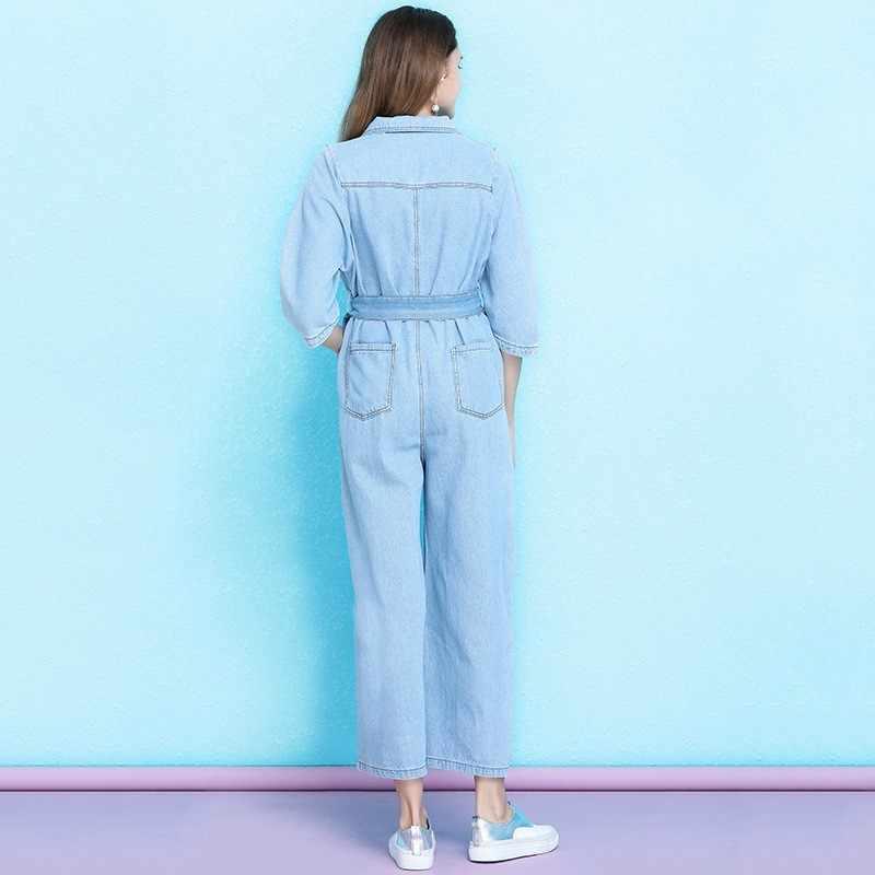 2020 ใหม่สูงเอว DENIM Jumpsuit ผู้หญิงฤดูร้อนหลวมตรง Overalls สไตล์อังกฤษ OL Elegant ขากว้างกางเกง Jumpsuits