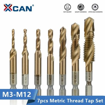 XCAN Hex Shank Thread Tap 7pcs M3 M4 M5 M6 M8 M10 M12 Metric HSS Screw Hole Drill Machine Plug Tap TiCN Coated Screw Thread Tap free shipping carbide thread end mills 4f m3 m4 m5 m6 m8 m10 m12 m14 thread mills thread milling cutter with tialn coating