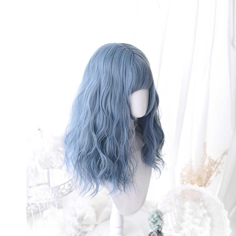 Peluca azul Lolita Harajuku Cosplay Bangs rizado 45cm largo dulce pelo sintético para niñas adultas