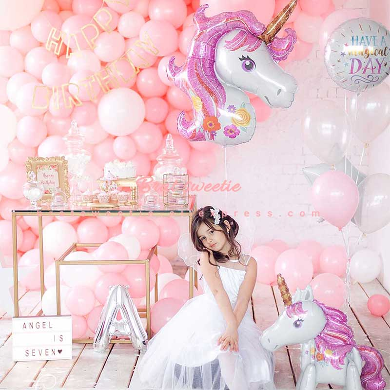 Image 5 - Unicorn Party Xmas Christmas Decorations Supplies 3D Large Unicornio Animal Foil Balloons Girls Birthday Party Favors-in Ballons & Accessories from Home & Garden