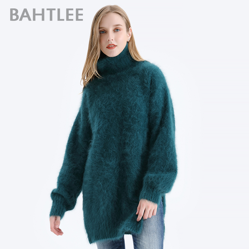 BAHTLEE Women Angora Pullovers Sweater Autumn Winter Wool Knitted Jumper Long Sleeves Turtleneck  Loose Style