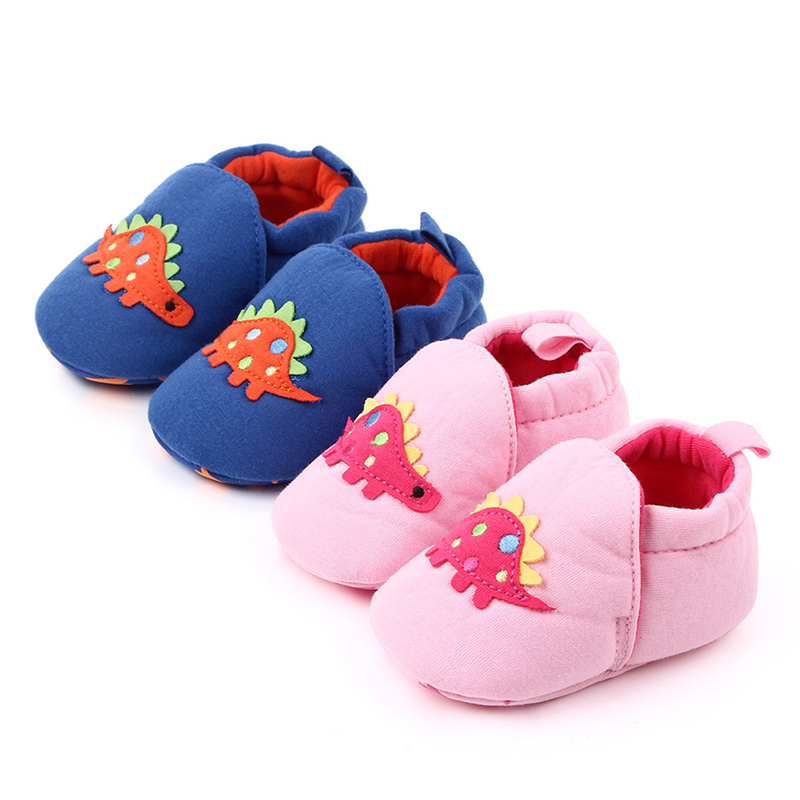 Infant First Walkers Baby Shoes Cotton Print Cartoon Dinosaur Toddler Kids Shoes Soft Sole Crib Sneaker 0-18M