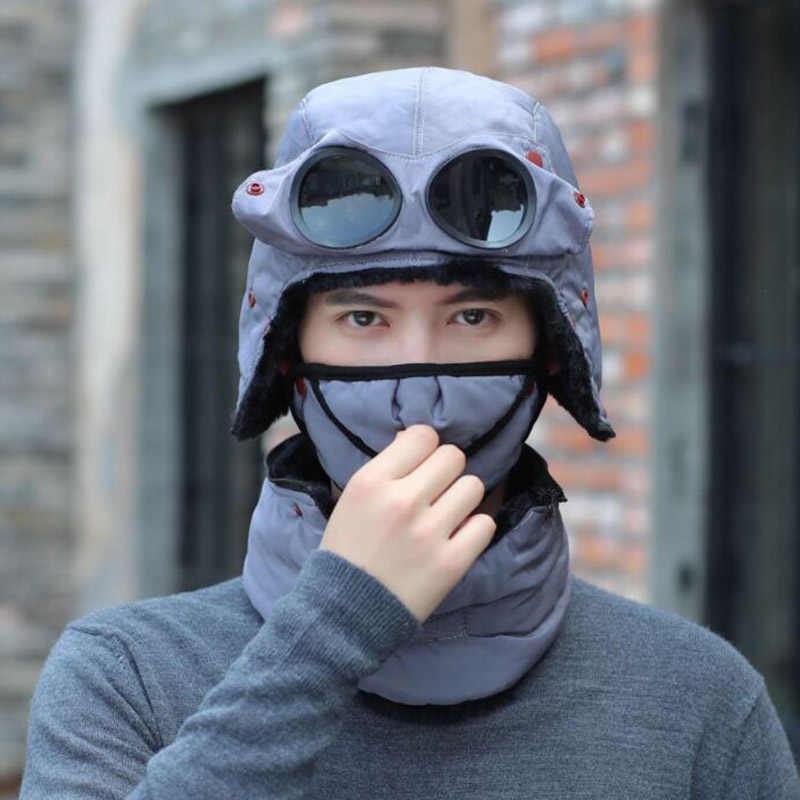 冬の爆撃機帽子ぬいぐるみ耳介ロシア Ushanka ゴーグル男性女性のトラッパーアビエイターパイロットハットフェイクレザー毛皮の雪キャップ