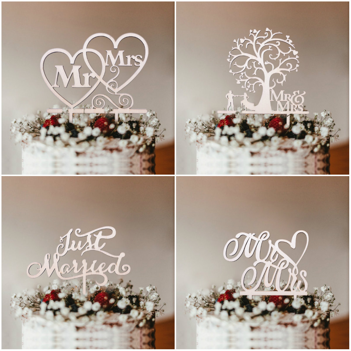 1Pcs Hollow Letter Love Just Married Mr&Mrs Cake Topper Bride and Groom Wooden Wedding Cake Topper For Wedding Party Supplies(China)