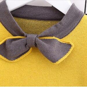 Image 5 - HE Hello Enjoy/осенне зимний комплект одежды для маленьких девочек, изысканная детская одежда, теплый вязаный пуловер + плиссированная юбка, костюмы