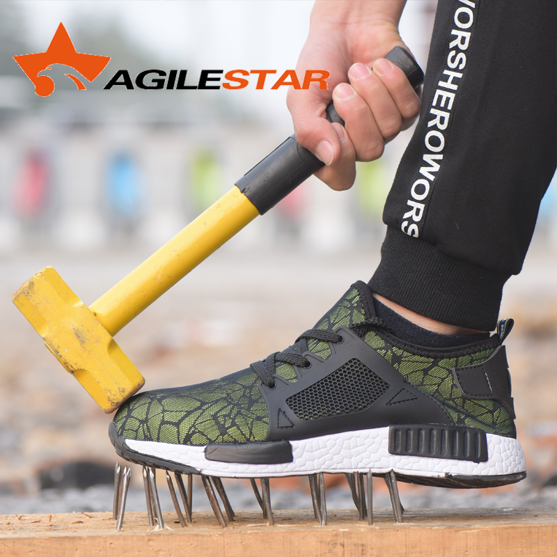 Boots Safety Man Steel Safety Shoes Lightweight Breathable Sport Men Steel Toe Work Boots Anti Smashing Mesh Sneakers
