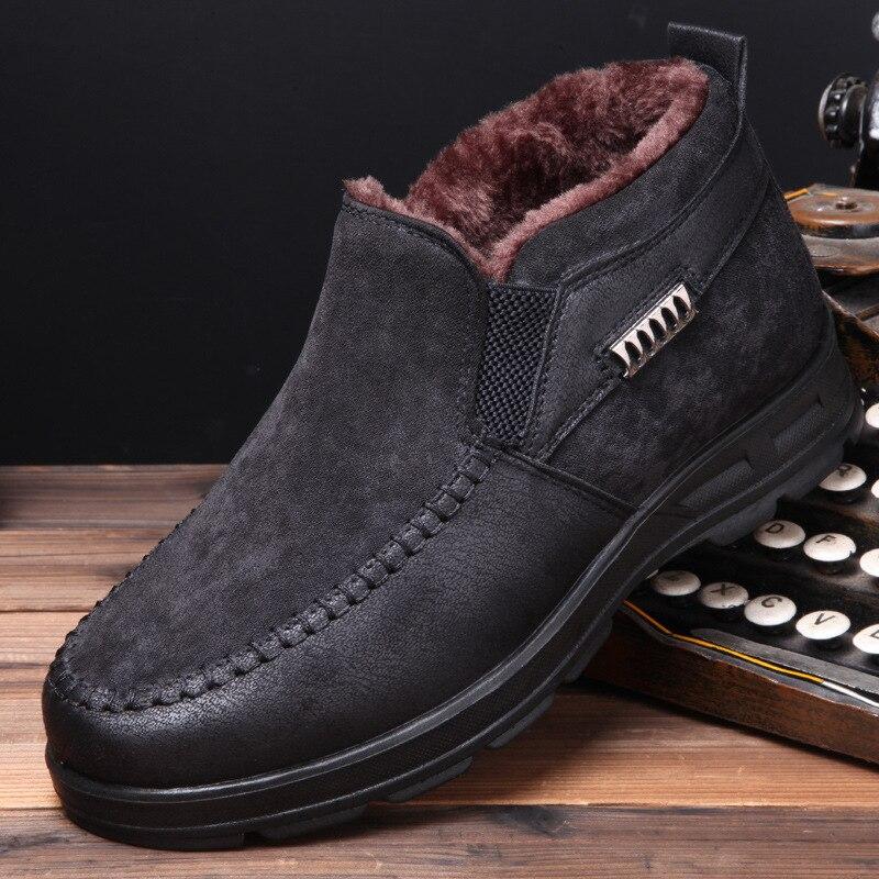 Velvet Winter Boots Plush Boots Men Shoes  Fashion Solid Zipper Fashion Cotton Flat With Warm Snow Boots Men Boots No-slip 568