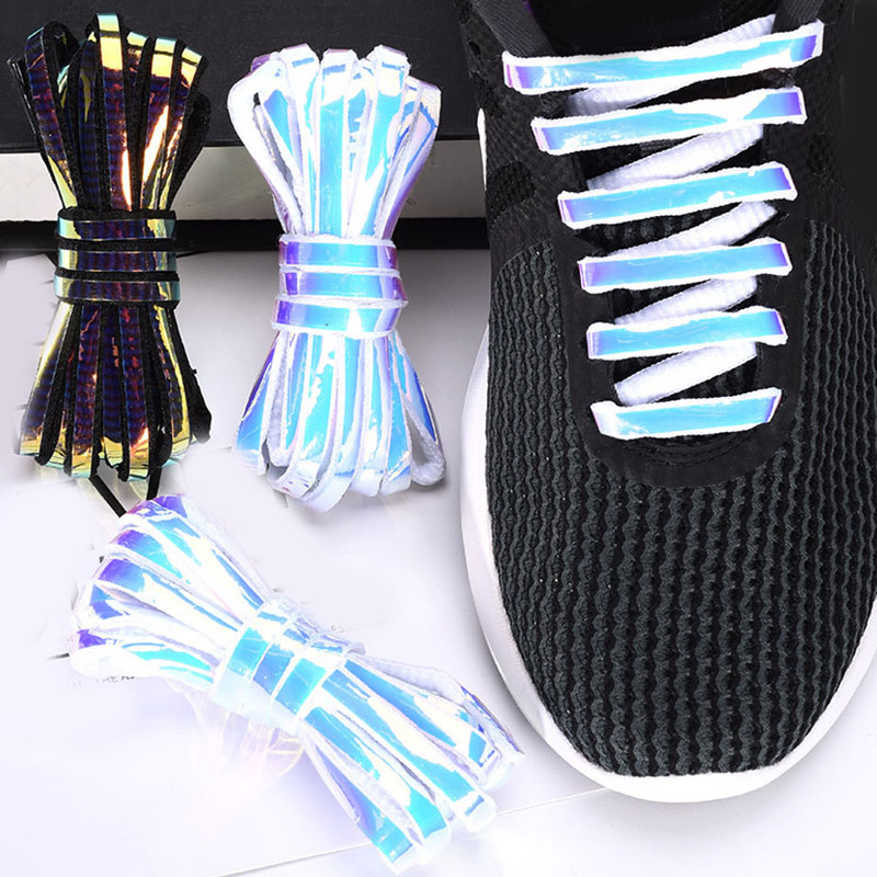1 Pair Reflective Shoelaces Laser Sequin Shoelace For Sneakers Running Shoes Lace Adult Children Luminous Glowing Shoe Strings