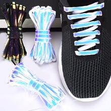 Lacets réfléchissants à paillettes Laser, 1 paire, pour baskets, chaussures de course, pour enfants et adultes, cordons de chaussures lumineux