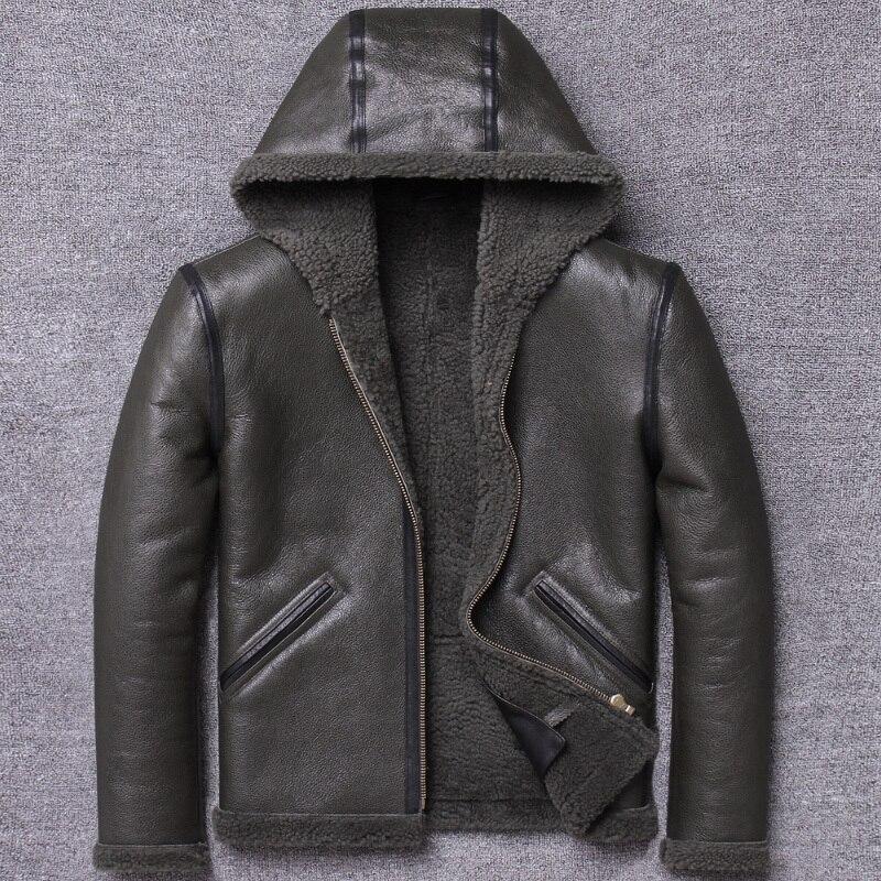 Original Ecology One Man Clothing Lamb Fur Grass Loose Fund Locomotive Even Hat Genuine Leather Short Motorcycle Coat
