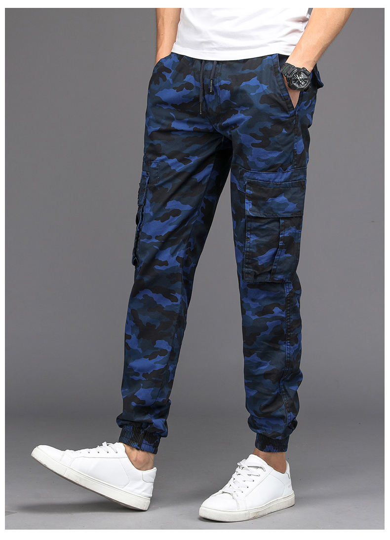 KSTUN Camouflage Casual Pants Men Joggers Men's Trousers Drawstring Sweatpants Male Large Size Blue Military Army Cargo Pants Men Boys 16