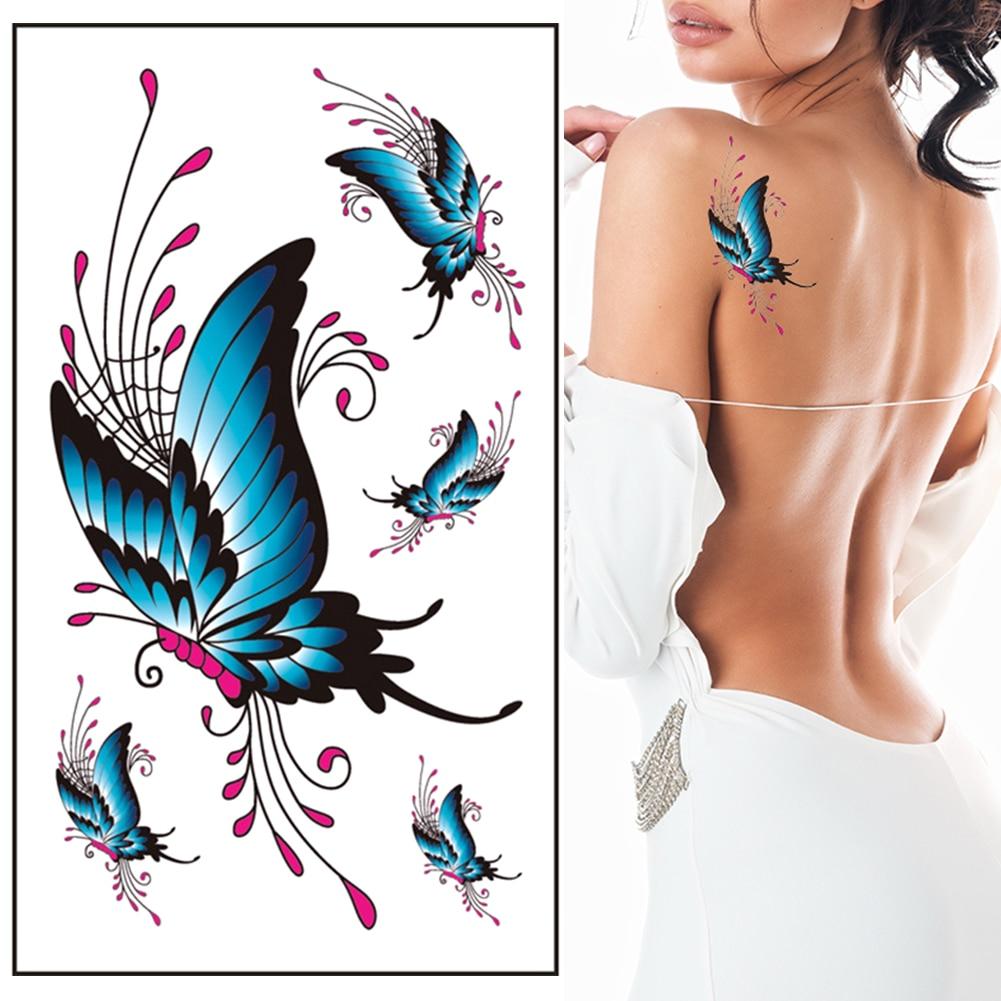 6PCS NEW Women's 3D Temporary Tattoo Sticker Waterproof Body Art Decals Sticker Fake Tatoo Art Taty Butterfly Tattoo Sticker