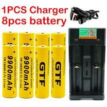 Novo 18650 bateria 3.7v 9900mah recarregável bateria de leão para led flash light bateria 18650 bateria atacado + usb carregador