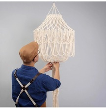 Nordic style hand woven tapestry chandelier bedroom lighting soft-fitting lampshade tassel cotton rope lamp