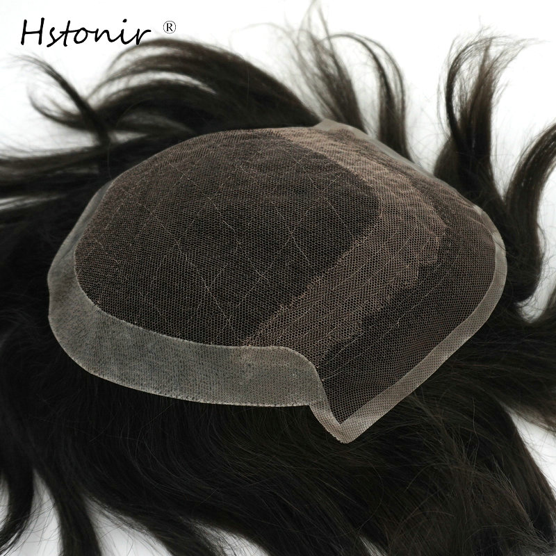 Hstonir Men Straight Toupee Natural Looking Indian Remy Hair Swiss Lace Frontal With Clear Poly Back Q6-D Human Men Hair H065