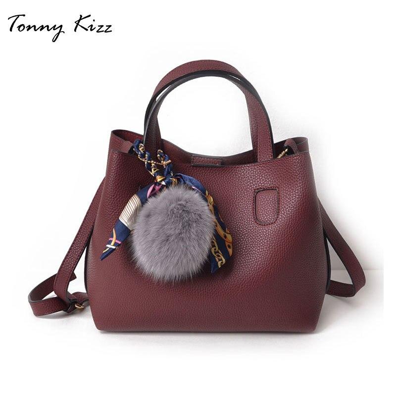 2 stücke casual handtaschen für frauen schulter taschen große kapazität weibliche verbund tote taschen pu leder umhängetaschen mit hairball