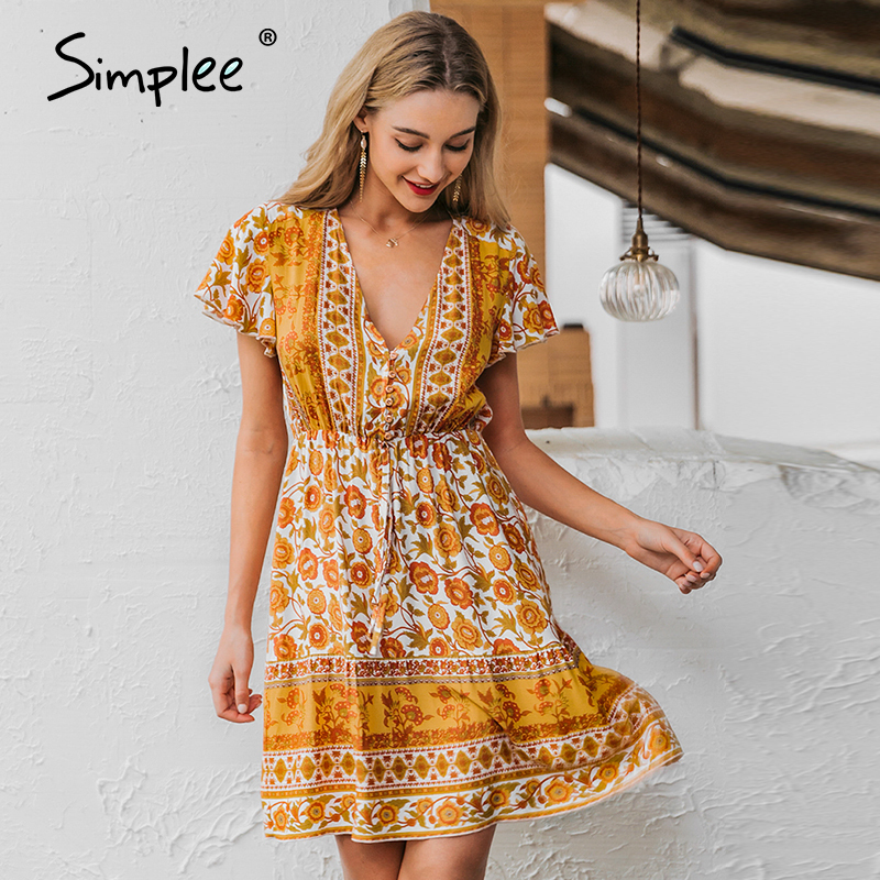 Simplee Boho Floral Print Summer Dress Holiday Sash  V-neck Beach Dress Casual Ladies Chic Buttons Orange Short Party Dress 2020