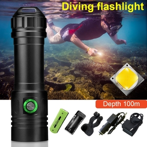 Image 5 - أقوى المهنية الغوص مصباح ليد جيب 100 متر مصباح تحت الماء الغوص الشعلة قابلة للشحن Xm L2 مصباح يدوي 26650 18650
