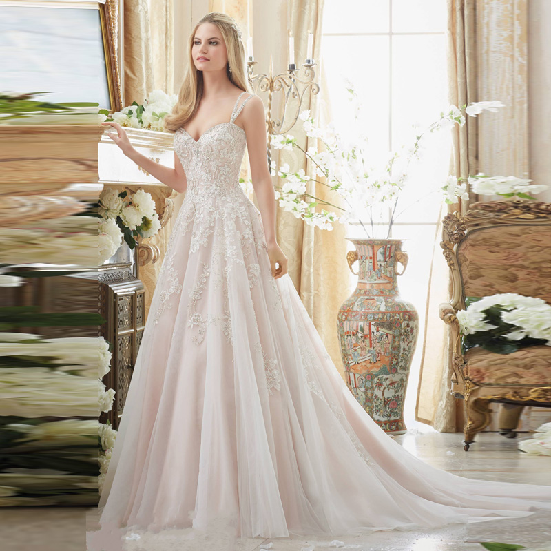 2018 Sweetheart Light Lace Applique Bridal Gown With Beading Straps Back Custom Robe De Mariage Mother Of The Bride Dresses