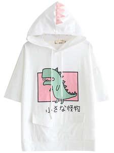 YUPINCIAGA Pullovers Short-Sleeve Horns Hooded T-Shirt Harajuku Dinosaur Pink Teens Tops