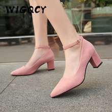 Thick High Heels Shoes Women Pumps Fashion Pointed Toe Work