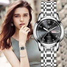 LIGE Reloj de calidad para mujer, camiseta nueva, de lujo, rosa, oro, negro, acero inoxidable, resistente al agua, Serie Clásica