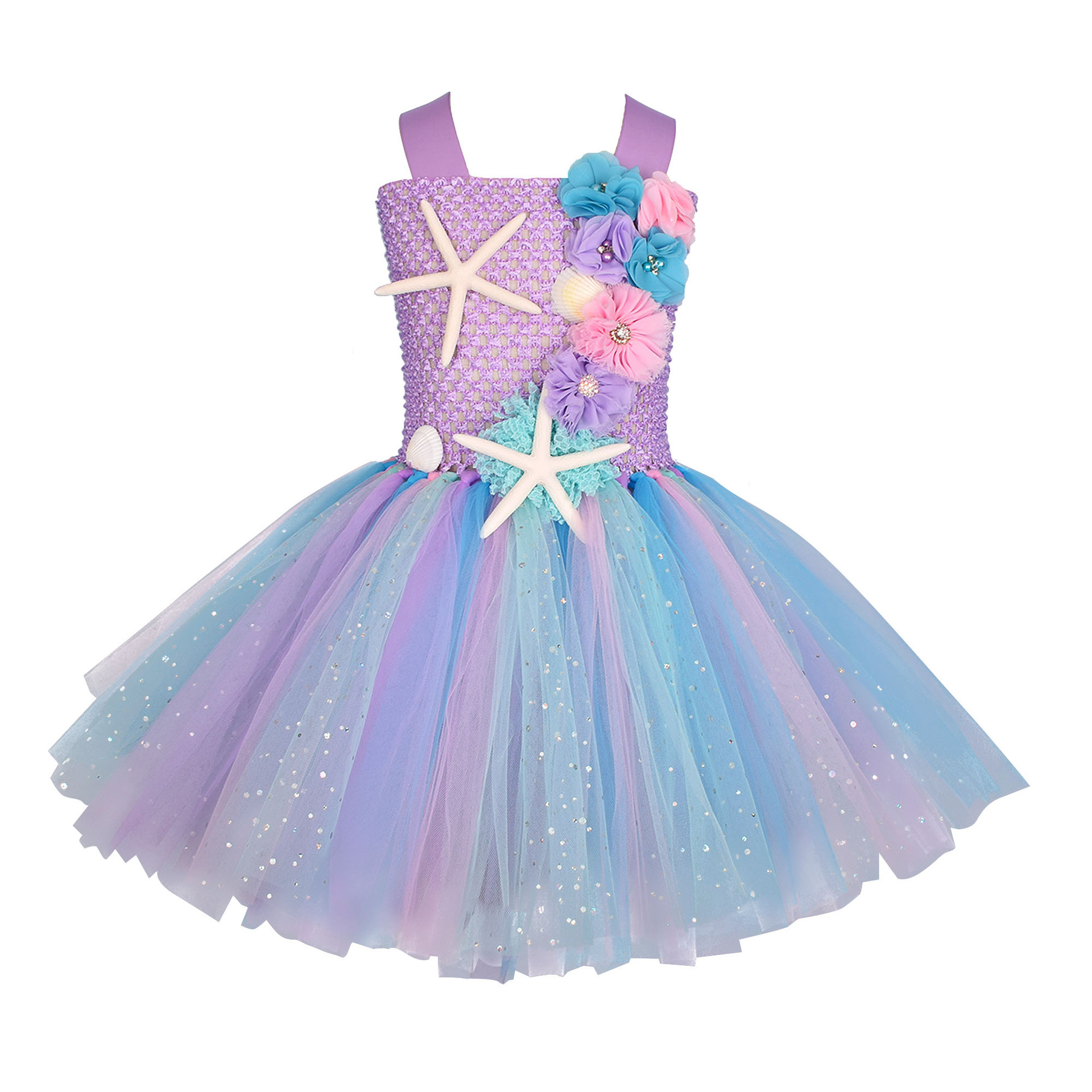 Girls Pastel Mermaid Tutu Dress Under the Sea Theme Birthday Party Costume with Flower Headband Ocean Flower Dresses 1-12Y 3