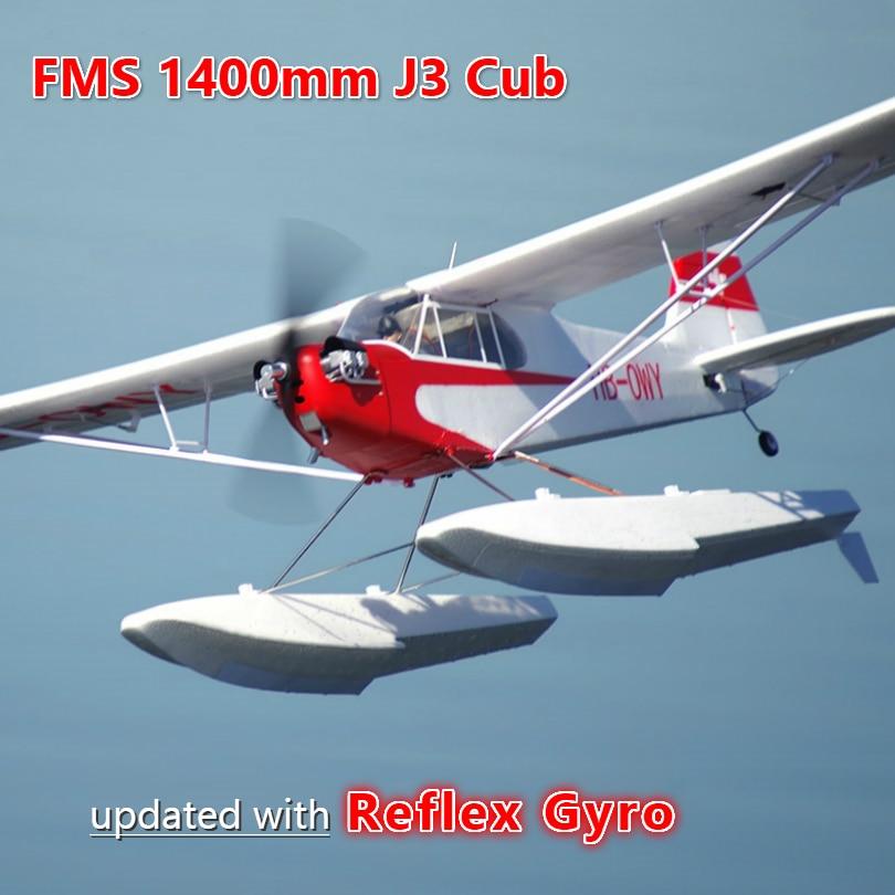FMS 1400 мм 1,4 м J3 Cub Пайпер V3 тренажер для начинающих с рефлекс гироскопа поплавки с самонастраиваемым устройством RC самолет масштабная модель ...