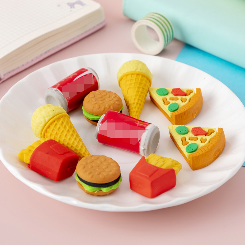 FAST FOOD ERASER RUBBERS KIDS STATIONERY GIFT LOOT BIRTHDAY PARTY BAG FILLERS