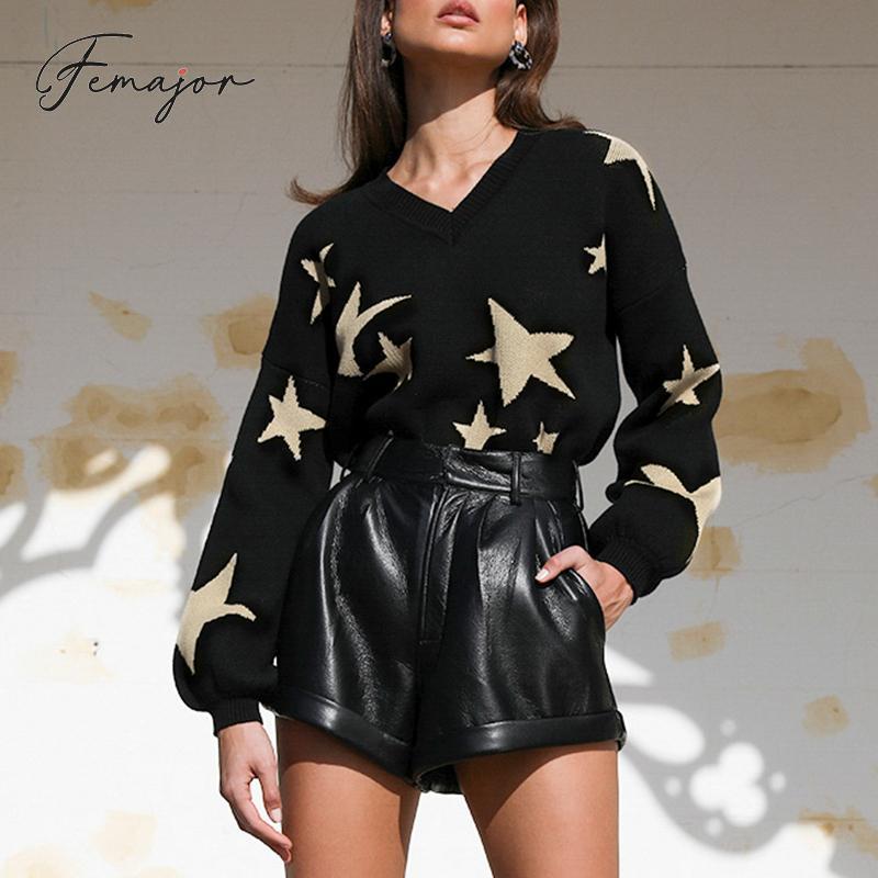 Femajor femmes Pentagram Star noir pulls chandail femme automne hiver lâche lanterne manches pull pull mode hauts en tricot