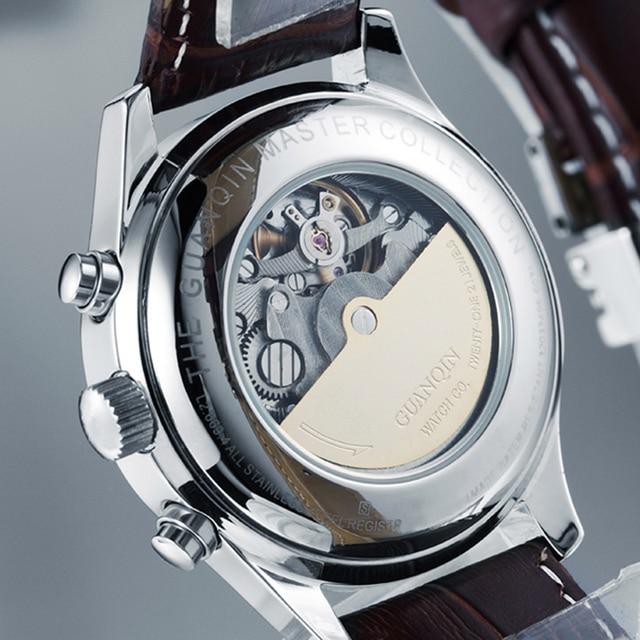 GUANQIN Luxury Casual Waterproof Genuine Leather Mechanical Wrist Watch 6