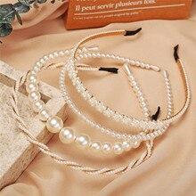 New Simple Full Pearls Women Hairbands Sweet Headband Hair Hoops Holder Ornament Head Band Lady Elegant Fashion Hair Accessories